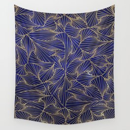 Tangles Blue and Gold Wall Tapestry