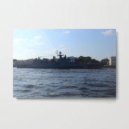 "The military ship ""Admiral Makarov"" 799. The Neva River. Metal Print"