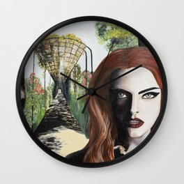 Mysterious lady in black in the garden Wall Clock