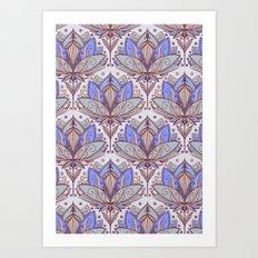 Art Deco Lotus Rising 2 - sage grey & purple pattern Art Print