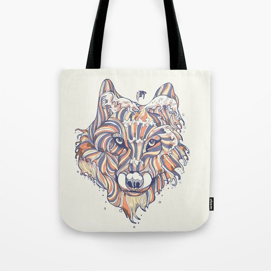 Wave Wolf Tote Bag