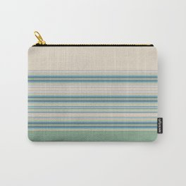 Mint Green Cream Stripes Carry-All Pouch