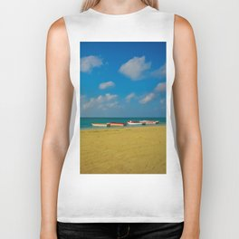 Colorful Boats Adorn the Tranquil Beach Biker Tank