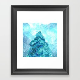 Snowy Landscape with a Giant Pine Framed Art Print