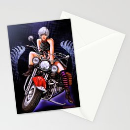 Motorcycle pinup Stationery Cards
