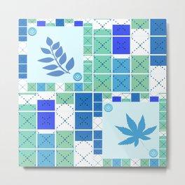 Blue white blue. Colorful light blue pattern . Metal Print