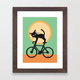 Cat loves a bike Framed Art Print