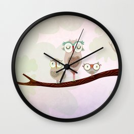 Mother owl and children Wall Clock