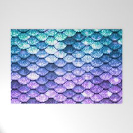 Mermaid Ombre Sparkle Teal Blue Purple Welcome Mat