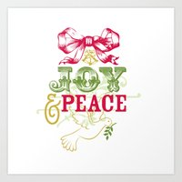 Joy and Peace Holiday Pillow Art Print