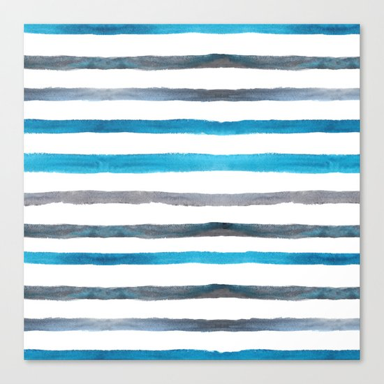 Azure blue and grey watercolor stripes Canvas Print