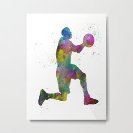 Basketball player 08 in watercolor Metal Print