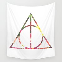 deathly hallows Wall Tapestries featuring deathly hallows floral by a crown of wood