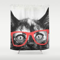 sassy Shower Curtains featuring Sassy Kitten by Allyson Johnson