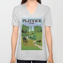 Plitvice Croatia landscape model travel poster. Unisex V-Neck