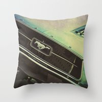mustang Throw Pillows featuring Galaxy Mustang by Honey Malek