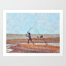 Beach Casting At Dungeness Art Print