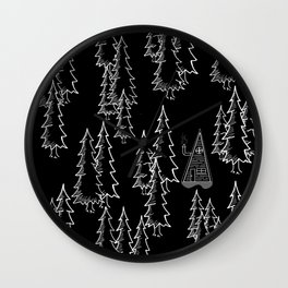 Lost in the wood, a lonely cabin (revers) Wall Clock