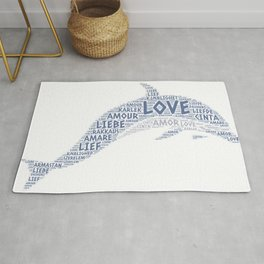 Dolphin illustrated with Love Word of different languages Rug