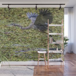Great Blue Heron Taking Flight Over a Lily Pond Wall Mural