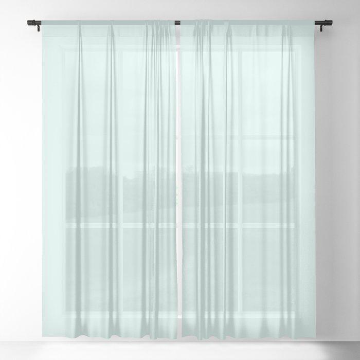 Light Cyan Soft Mint Green Solid Matte Colour Palette Sheer Curtain