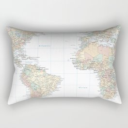 Clear World Map Rectangular Pillow