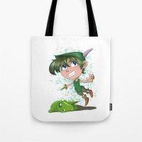 peter pan Tote Bags featuring Peter Pan by EY Cartoons