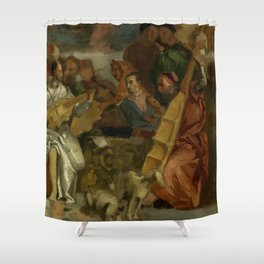 """Eugène Delacroix """"Musicians, after Veronese, a detail from The Marriage at Cana"""" Shower Curtain"""