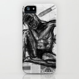 Injection - Charcoal on Newspaper Figure Drawing iPhone Case