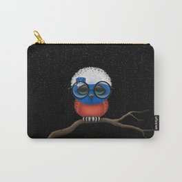 Baby Owl with Glasses and Slovenian Flag Carry-All Pouch