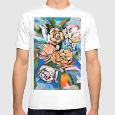Vibrant Floral MEDIUM White Mens Fitted Tee