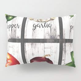 Rustic White Wood Herbs & Garden Vegetables Pillow Sham