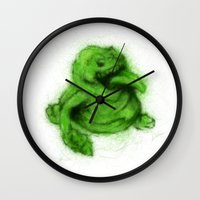 ghostbusters Wall Clocks featuring Ghostbusters Slimer by KitschyPopShop