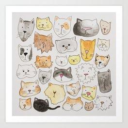 cats art print, cat lover gift Art Print