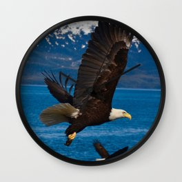 Bald Eagles Soaring Wall Clock