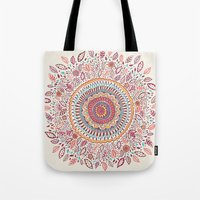 sunflower Tote Bags featuring Sunflower Mandala by Janet Broxon