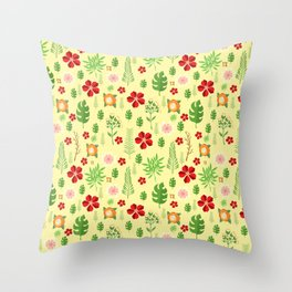 Tropical yellow red green modern floral pattern Throw Pillow