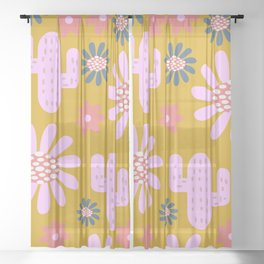 Nursery cactus garden Sheer Curtain