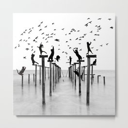 Cats Hunt Birds Metal Print