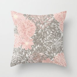 Floral Pattern Dahlias, Blush Pink, Gray, White Throw Pillow