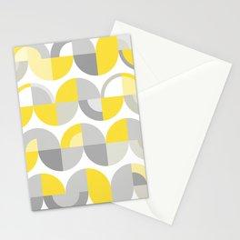 Wavy Bauhaus Yellow and Grey Pattern Stationery Cards