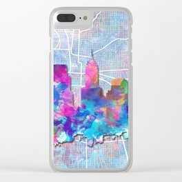 indianapolis city skyline watercolor 2 Clear iPhone Case