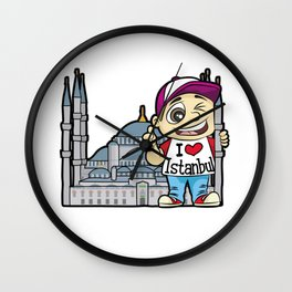 I LOVE ISTANBUL Turkey Turkish Mosque Tourist Wall Clock