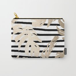 Simply Tropical White Gold Sands Palm Leaves on Stripes Carry-All Pouch