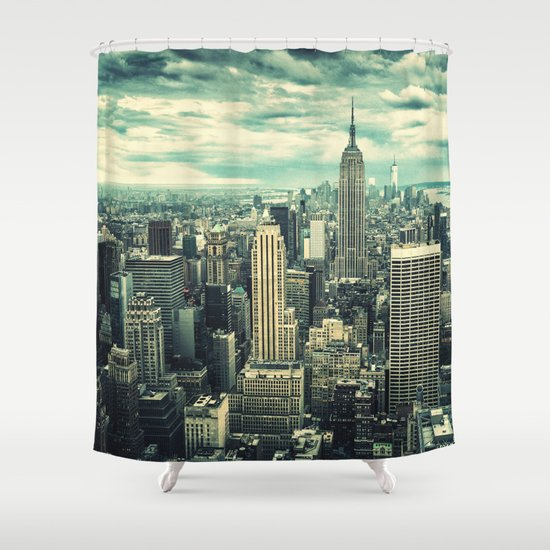new york city panoramic view skyline Shower Curtain