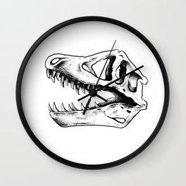Dinosaur Skull B&W Wall Clock