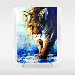 portrait of a creepin' cougar, in orange and blue Shower Curtain