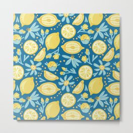 Lemon Pattern Blue Metal Print