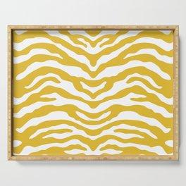 Zebra Wild Animal Print Mustard Yellow Serving Tray