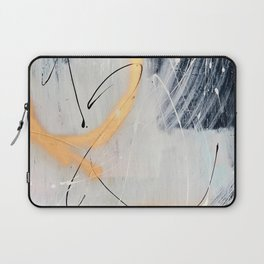 Midnight Time Lapse: a minimal, abstract mixed-media piece by Alyssa Hamilton Art in Gold, Black Laptop Sleeve